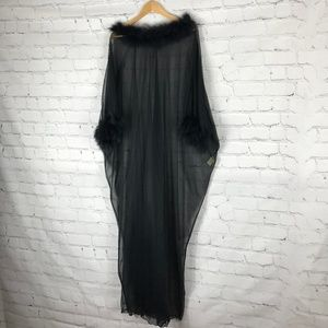 VTG Janelle of California Black Feather Nightgown